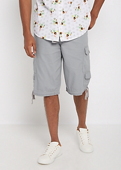 Heather Gray Belted Long Length Cargo Short