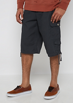 Charcoal Belted Long Length Cargo Short