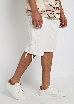 White Belted Long Length Cargo Short