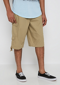 Khaki Belted Long Length Cargo Short