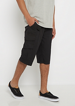 Black Belted Long Length Cargo Short