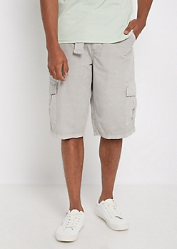 Gray Belted Long Length Cargo Short