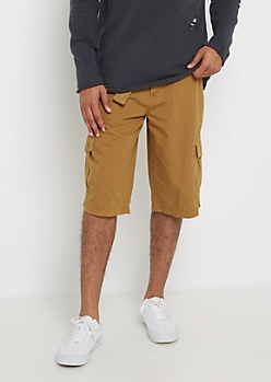 Camel Belted Long Length Cargo Short