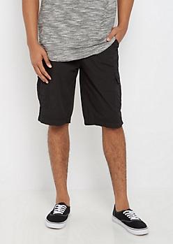 Black Twill Belted Short