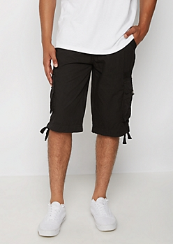 Black Belted Longer Length Cargo Short