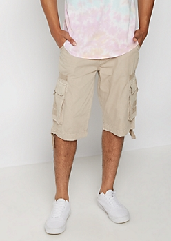 Khaki Belted Longer Length Cargo Short