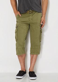 Olive Belted Cargo Short