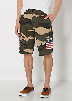 Belted Camo Americana Cargo Short