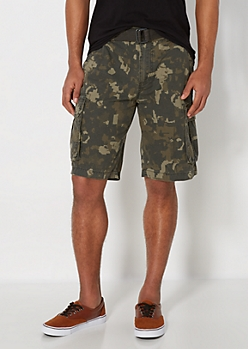 Camo Ripstop Belted Cargo Short