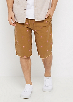 Flex Flamingo Raw Hem Jogger Short