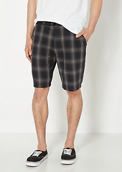 Black & Gray Plaid Belted Flat Front Short