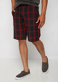 Red Plaid Belted Flat Front Short