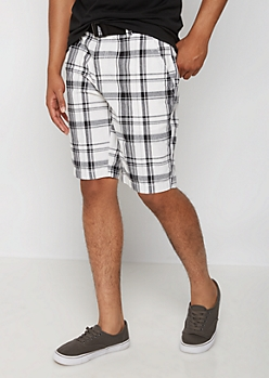White Plaid Belted Flat Front Short