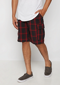 Red Plaid Belted Classic Cargo Short