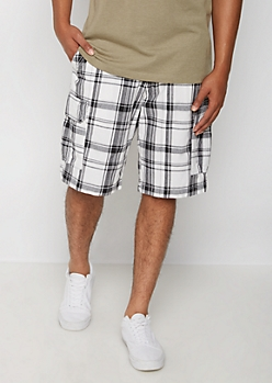 White Plaid Belted Classic Cargo Short