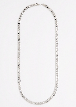 Metallic Silver Figaro Chain Necklace