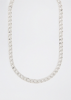 Silver Flat Curb Chain Link Necklace
