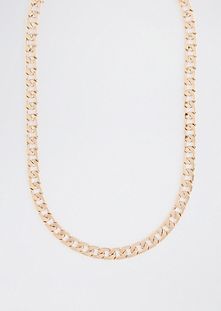 Gold Metallic Flat Curb Chain Link Necklace