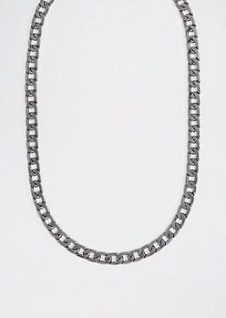 Hematite Flat Curb Chain Link Necklace