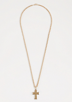 Gold Tone Diamond Dust Cross Necklace