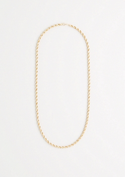 Metallic Gold Rope Chain Necklace