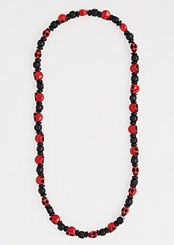 Red Beaded Skull Necklace