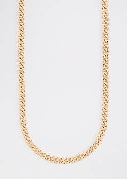 Gold Metallic Metallic Chain Necklace