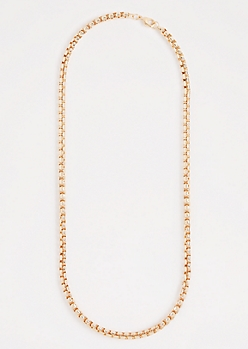 Metallic Gold Box Chain Necklace