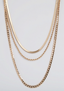 3-Pack Mixed Chain Necklace Set