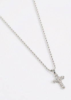 Silver Stone Cross Pendant Necklace