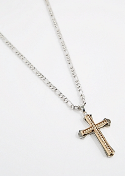 Mixed Metal Cross Necklace