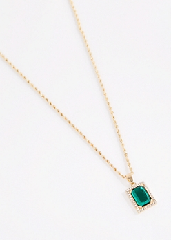 Green Gem Chain Necklace