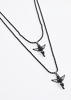 Black Double Diamante Angel Necklace