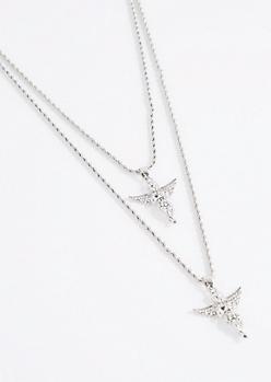Silver Double Diamante Angel Necklace