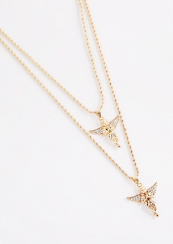 Double Diamante Angel Pendant Necklace