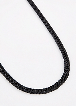 Black Cuban Link Chain Necklace