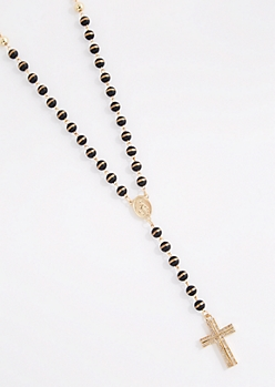 Diamante Cross Beaded Rosary Necklace