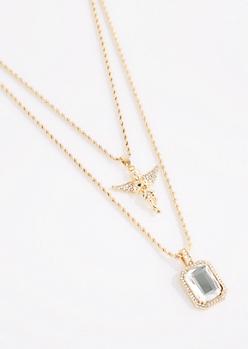 2-Pack Bling Angel & Halo Gem Necklaces