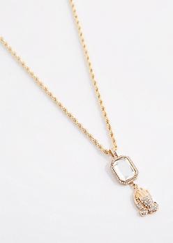 Diamante Prayer Hands Necklace