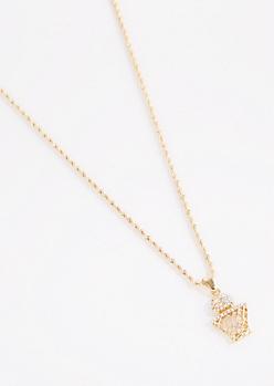 Diamante Hoop Star Necklace