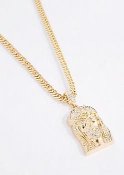 Oversized Diamante Jesus Necklace