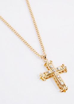 Oversized Diamante 3D Cross Necklace