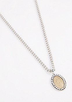 Halo Mother Mary Pendant Necklace