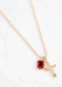 Diamante Cross & Ruby Pendant Necklace