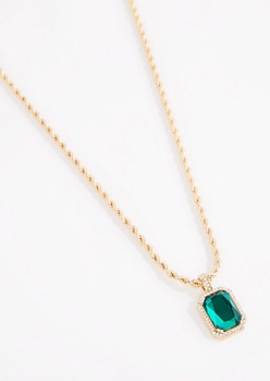 Green Stone Rope Chain Necklace