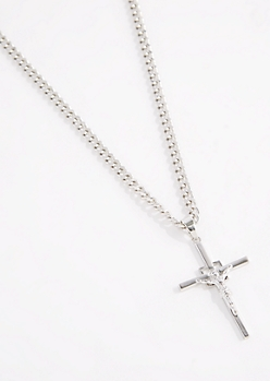 Silver Metallic Cross Necklace