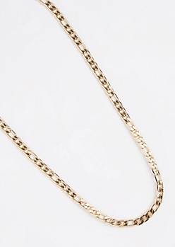 Golden Long Figaro Chain Necklace
