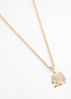 Stone Headdress Rope Chain Necklace