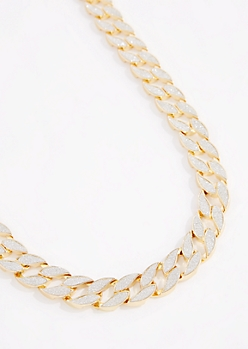 Diamond Dust Flat Cuban Chain Necklace