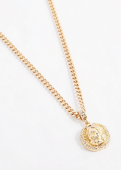 Diamante Jesus Medallion Necklace